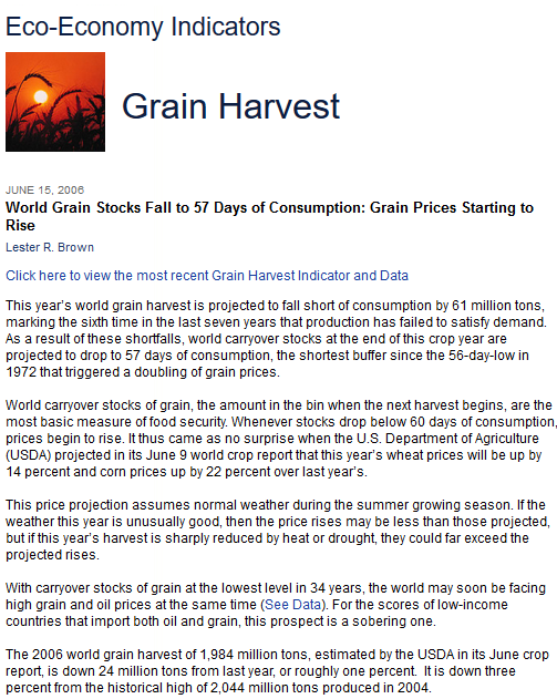 World Grain Stocks Fall to 57 Days of Consumption: Grain Prices Starting to Rise