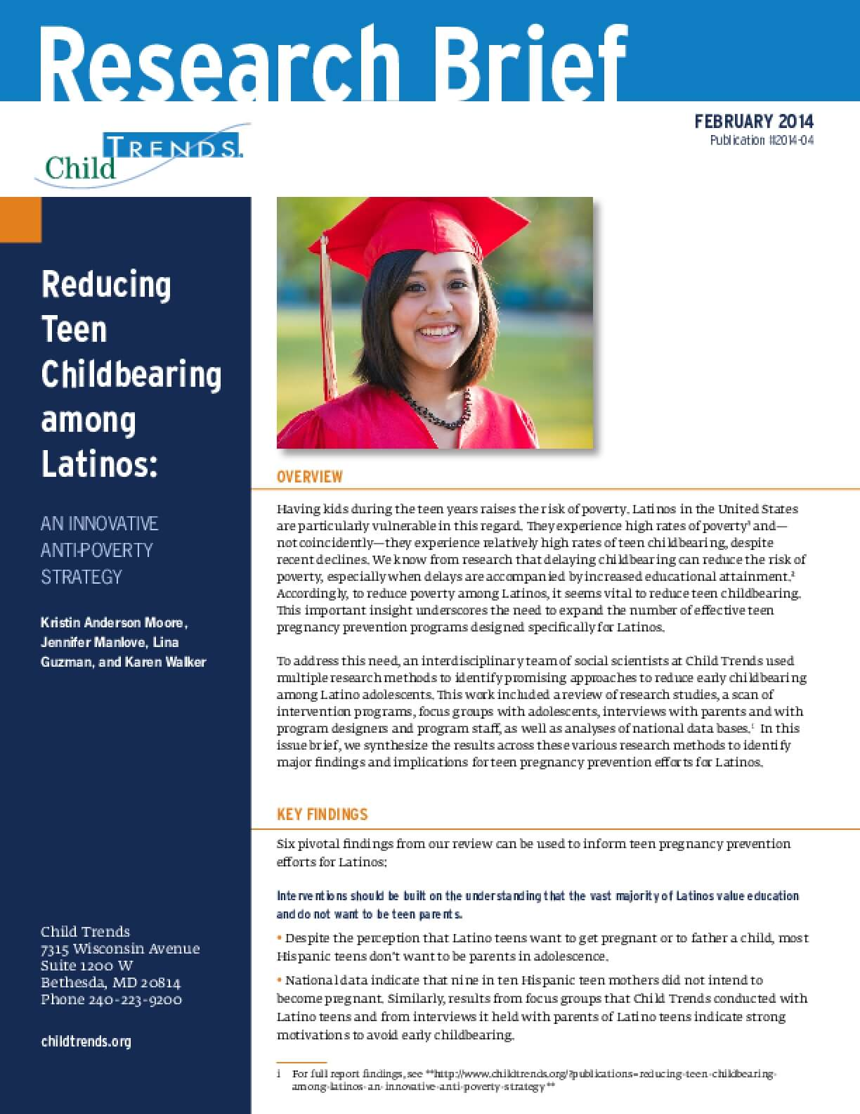 Reducing Teen Childbearing Among Latinos: An Innovative Anti-Poverty Strategy
