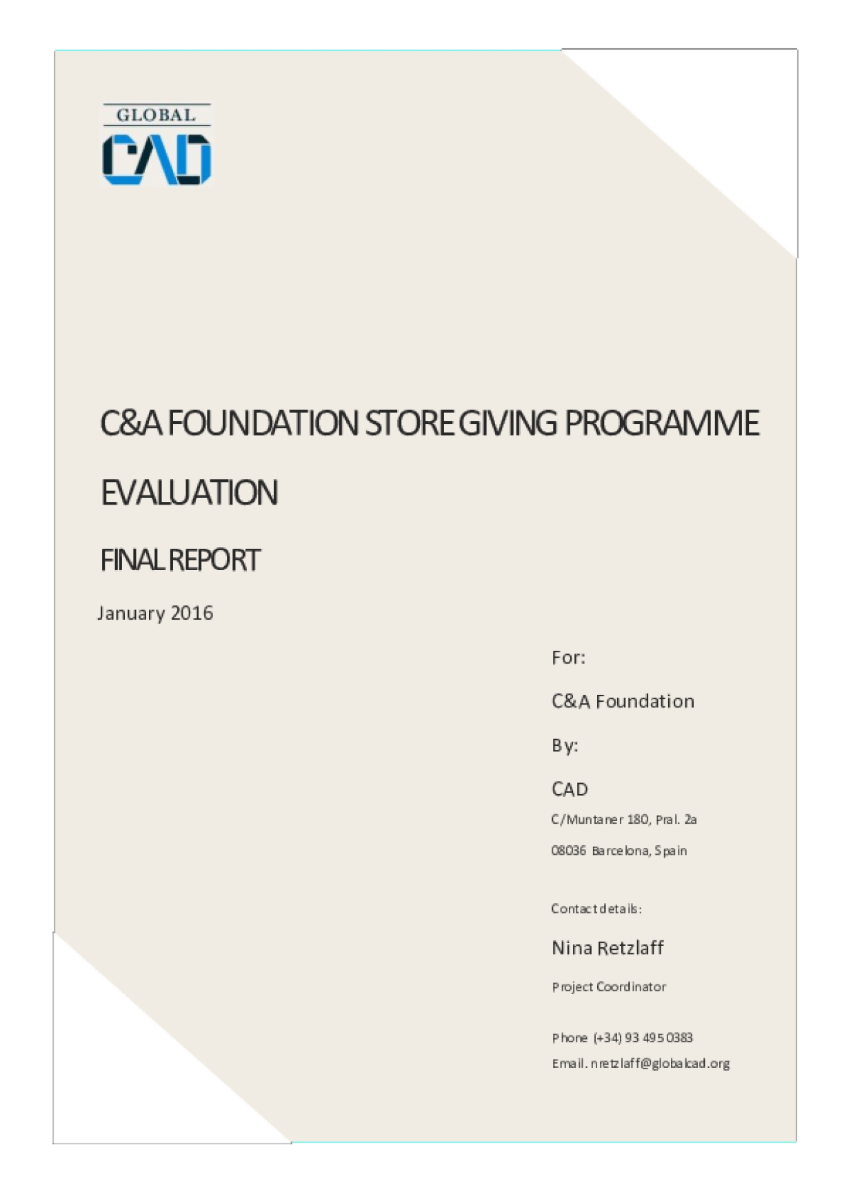 C&A Foundation Store Giving Programme Evaluation Final Report
