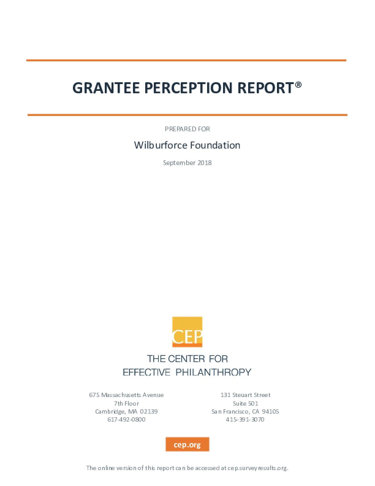 2018 Grantee Perception Report: Wilburforce Foundation