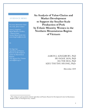 An analysis of value-chains and market development to support the smaller-scale production of pork by ethnic minority women in the Northern Mountainous Region of Vietnam